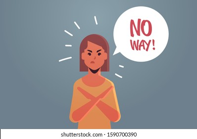 angry unhappy woman saying NO WAY speech balloon with NO scream exclamation negation concept furious girl with crossed arms gesture flat portrait horizontal vector illustration
