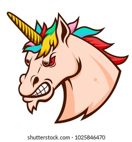 Angry unicorn head. Design element for logo, label, emblem, sign. Vector illustration