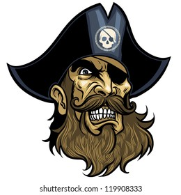 Angry vector Pirate face, wearing hat and eye patch
