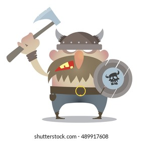 angry Viking with axe cartoon