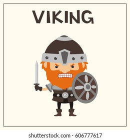 Angry viking with sword and shield in cartoon style.