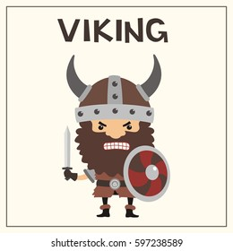 Angry viking with sword and shield in helmet with horns.