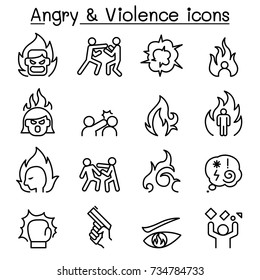 Angry & Violence icon set in thin lines style
