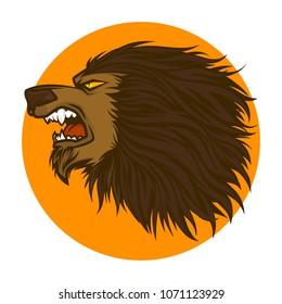 angry warewolf head
