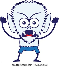 Angry werewolf with big head, bulging eyes, blue pants, blue fur and sharp fangs while frowning, staring at you, yelling, clenching its fists in a very irritated mood