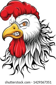 angry white rooster head mascot