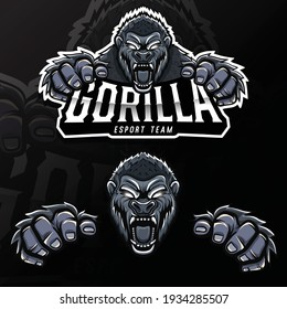 angry wild animal gorilla esport logo illustration