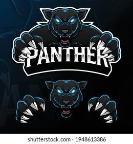 angry wild animal panther esport logo illustration