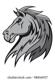 Angry wild stallion in cartoon design for mascot or equestrian sports design, such  a logo