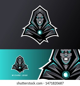 Angry Wizard sport esport logo template black uniform in blue glow for team, business, personal