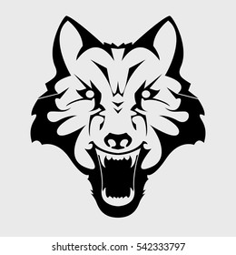 Angry Wolf Head. Emblem, mascot head silhouette, sport logotype. Template for business or t-shirt design. Vector Illustration.