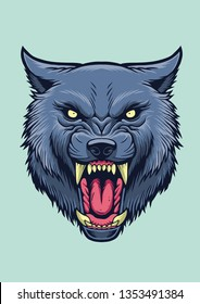 Angry wolf vector for design/illustration or logo elements.