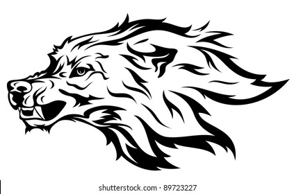 angry wolf vector illustration