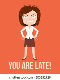 Angry woman boss character. Lateness concept. Vector flat cartoon illustration