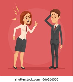 Angry woman boss character yelling at employee man office worker. Vector flat cartoon illustration