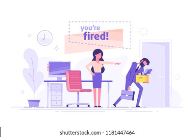 Angry woman boss dismisses employee. Fired sad man carrying box with his things. Dismissal, unemployment, jobless and employee job reduction concept. Flat vector illustration.