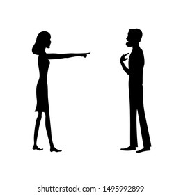 Angry woman pointing finger at confused man. Charge. Vector silhouette image on white.