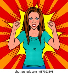 Angry woman pop art retro vector illustration. Comic book style imitation.
