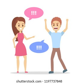 Angry woman yelling at her stressed boyfriend. Couple fight and argue. Man shouting in anger. Flat vector illustration