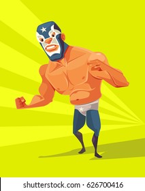 Angry wrestler man character. Vector flat cartoon illustration
