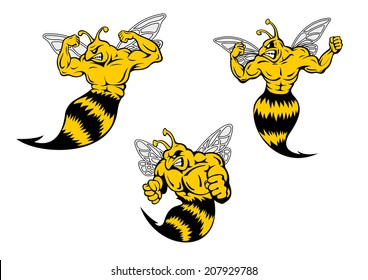 Angry yellow and black cartoon wasp or hornets with a sting shaking his fist and baring his teeth, cartoon logo illustration on white