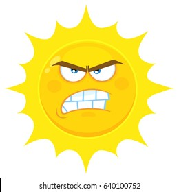 Angry Yellow Sun Cartoon Emoji Face Character With Aggressive Expressions. Vector Illustration Isolated On White Background