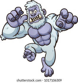 Angry yeti monster jumping at the screen. Vector clip art illustration with simple gradients. All in a single layer.