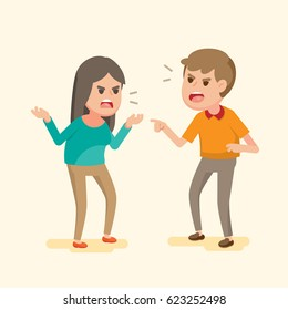 Angry young couple fighting and shouting at each other, people arguing and yelling,Vector cartoon illustration.