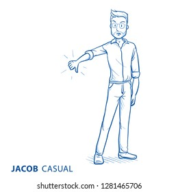 Angry young man in casual clothes showing thumb down. Concept for negative rating, bad service, displeased customer. Hand drawn blue line art cartoon vector illustration.