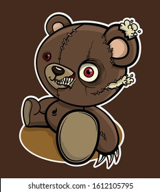 Angry, zombie, brown teddy bear. Vector illustration.
