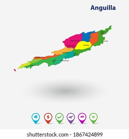Anguilla 3d Flag Map and Vector Map, Stock Illustration