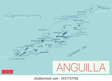 Anguilla detailed editable map with regions cities and towns, roads and railways, geographic sites. Vector EPS-10 file