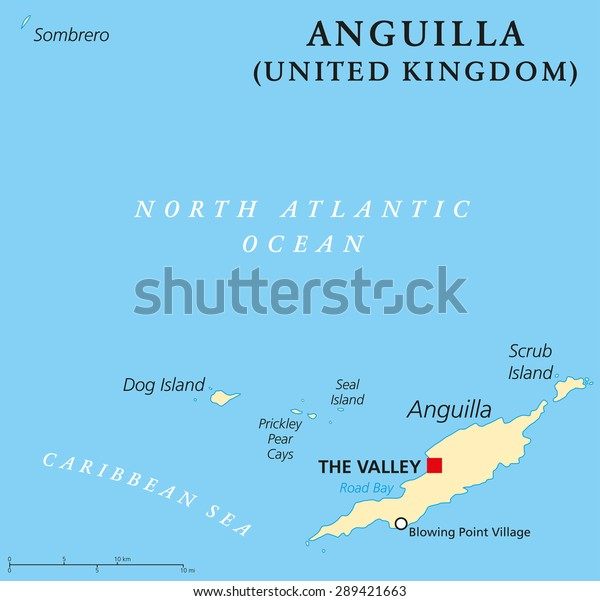 Map Of Uk Overseas Territories.Anguilla Political Map Capital Valley British Stock Vector Royalty