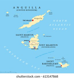 Anguilla, Saint Martin and Saint Barthelemy political map. Islands in the Caribbean, part of Leeward Islands and Lesser Antilles. Illustration. English labeling. Vector.