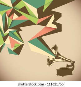 Angular abstraction with old gramophone. Vector illustration.