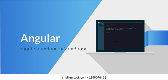 Angular Application platform, javascript  programming language with script code on laptop screen, programming language code illustration