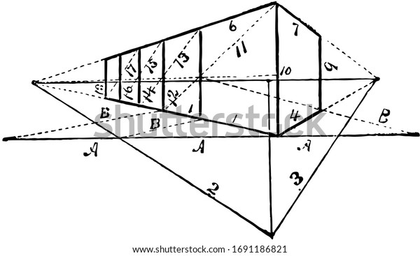 Angular Perspective has four additional cubes of equal dimensions, it is the sides of the object vanish to one of two vanishing points on the horizon line, vintage line drawing or engraving