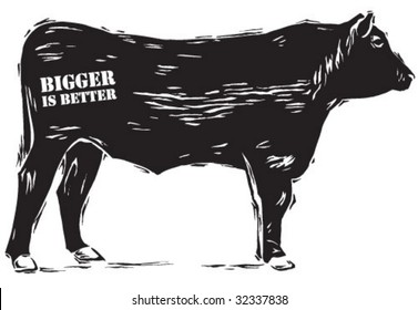Angus bull in woodcut style