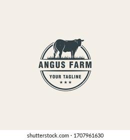 Angus farm logo design Premium Vector