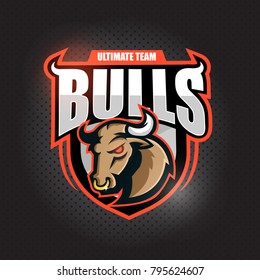 Angy  Bull head.  Emblem , sport and team logo