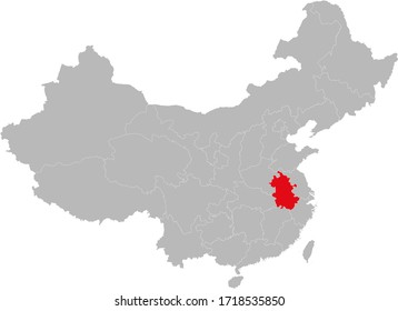 Anhui province highlighted on china map. Gray background.