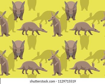 Animal Aardvark Cartoon Background Seamless Wallpaper