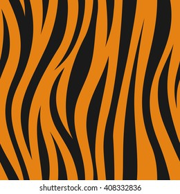 Animal abstract skin orange and black seamless pattern. Vector.