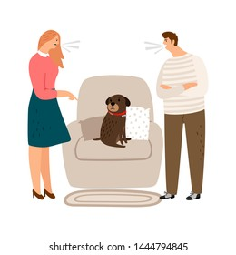 Animal abuse. Woman and man scream, angry people and sad dog vector illustration. Woman man quarrel, aggressive argue husband and wife, pet puppy sad and poor illustration
