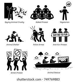 Animal Activists Organization and People Stick Figure Pictogram Icons. Illustrations depicts spying animal cruelty, naked protest, vegan, vegetarian, animal shelter, anti-fur protesters, and rescue.