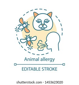Animal allergy concept icon. Allergic reaction to insect stings, cats fur, saliva and dander. Pet allergens sensitivity idea thin line illustration. Vector isolated outline drawing. Editable stroke