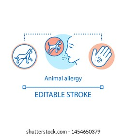 Animal allergy concept icon. Allergic reaction to cats and dogs fur, saliva, urine and dander. Pet allergens sensitivity idea thin line illustration. Vector isolated outline drawing. Editable stroke