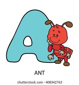 animal alphabet card. Vector illustration of educational alphabet card with cartoon animal for kids