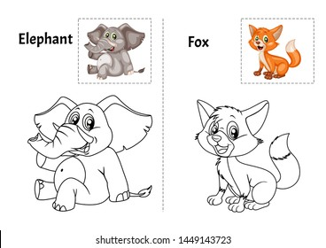 Animal Alphabet Coloring Book for Preschool Kids with Stickers. Colorful and Colorless Versions of Elephant and Fox on A4 Paper. Ready for Print. Kids Activity Educational Printable. Alphabet Book