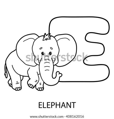 Animal Alphabet Coloring Page Vector Illustration Stock Vector - Animal-alphabet-coloring-pages